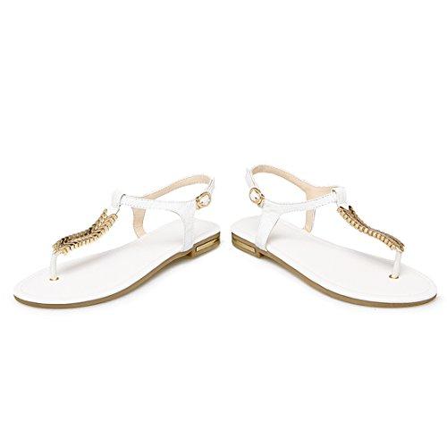 YE Damen Flache Ankle Strap Sandalen Zehentrenner mit Schnalle und Kette Bequem Schuhe 7seBnu3