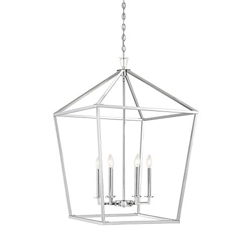 Savoy House Townsend 6-Light Foyer in Polished Nickel - Nickel Transitional Six Light