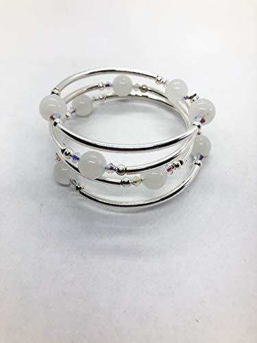 Bracelet - White Moonstone Gemstones - Grade A - Sm/Med Size - Silver Plate - Crystal Accents ()