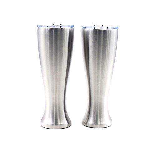 Mason Forge | Stainless Steel Pint Double Insulated Beer Tumbler | Double Wall Vacuum Insulated | Sweat & Condensation Free | HOT or COLD Beverages | Pilsner Style Glass | 16 Ounce | Set of 2 Tumblers