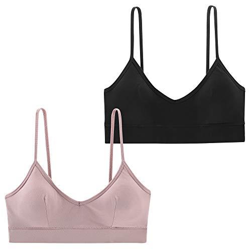 INIBUD Bralette for Women U Back Cotton Bralettes V Neck Cami Bra Removable Padded Wire Free Pull on Bustier Lingerie (2 Pack Black&Light Blush, ()