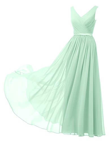 Alicepub V-Neck Chiffon Bridesmaid Dress Long Party Prom Evening Dress Sleeveless, Mint Green, US0