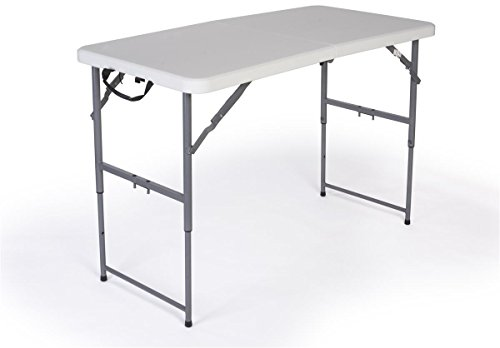 Displays2go Adjustable Height Folding Table, 4-Feet, White by Displays2go
