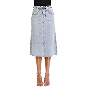 Women's Light Wash Denim Jean Skirt Cover Frayed Hem