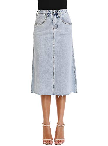 - Mia Pristine Women's Light Wash Jean Skirt Cover Knee Elastic Waist Denim Skirt Frayed Hem,Blue 6