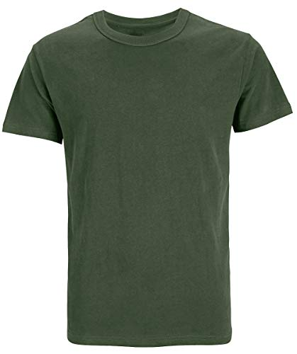 Funny World Men's Heavyweight Cotton Thick Soft T-Shirts (M, Army Green) Adult Army Green T-shirt