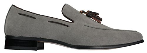 Rossellini Mens Suede Loafers Driving Shoes Slip On Tassle Design Leather Smart Casual Grey xsQgREmPn