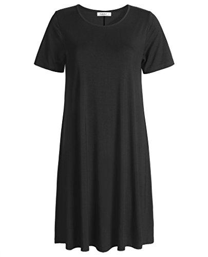 Esenchel Women's Swing T-Shirt Dress Short Sleeve Casual Dress 2X Black ()