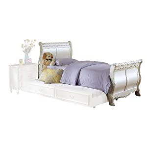 ACME 01010T Sleigh Bed, Twin, Pearl White Finish