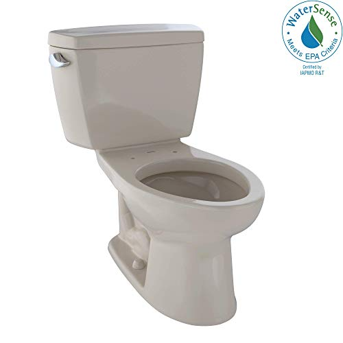 - TOTO CST744EL#03 Eco Drake Two-Piece Elongated 1.28 GPF ADA Compliant Toilet, Bone