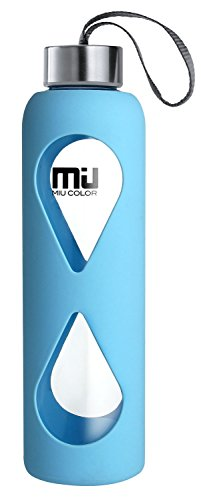 18oz Glass Water Bottle MIUCOLOR - Anti-slip Silicone Sleeve with Eco-friendly Borosilicate Glass Bottle, BPA, PVC, Plastic and Lead Free, Sky Blue