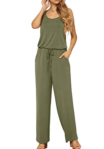LAINAB Women's Casual Wide Leg Jumpsuits Romper Playsuit with Pockets Army Green XL ()