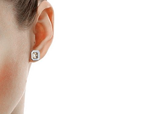 Libertini Boucle d'oreille argent 925 serti de Diamant et Saphir