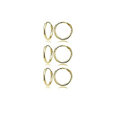 Yellow Gold Flashed Sterling Silver Small Endless 10mm Round Unisex Hoop Earrings, Set of 3 Pairs from Hoops 4 Less