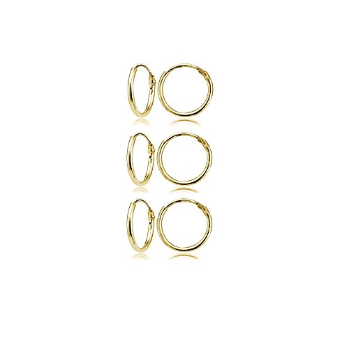 Yellow Gold Flashed Sterling Silver Small Endless 10mm Round Unisex Hoop Earrings, Set of 3 Pairs