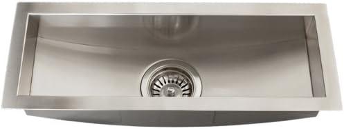 Stainless Steel 16 Gauge Undermount Kitchen Bar Trough Sink Strainer Square