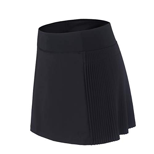 Cityoung Women's Athletic Running Skort Pleated Workout Skirt Shorts Side Pockets for Tennis Golf Fitness 12 bk1
