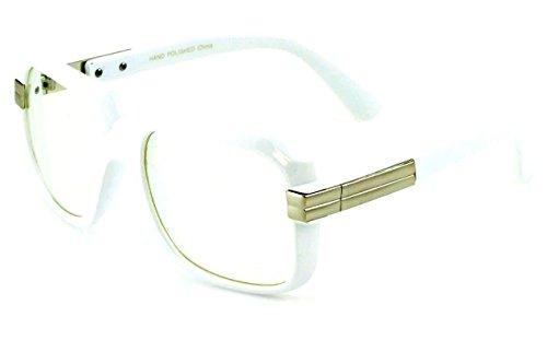 Gazelle Emcee Oversized Square Sunglasses w/ Clear Lenses (White & Silver Frame, - Hb Sunglass