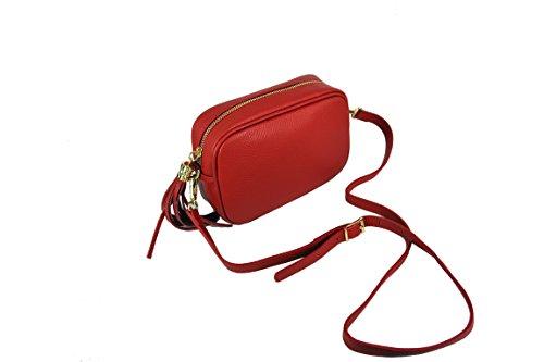 italianbagmilan - Bolso cruzados de Cuero para mujer Rojo Rosso Chiaro piccola
