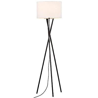 "Rivet Black Metal Tripod Table Lamp, 26.5""H, With Bulb, Linen Shade"