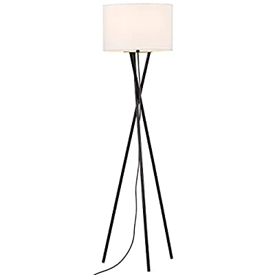 "Rivet Metal Tripod Floor Lamp, With Bulb, Linen Shade, 64"" x 17"" x 17"" , Black - With a sleek tripod base, this versatile floor lamp suits a variety of styles from contemporary to cottage. The black metal legs twist, adding a fun and fresh style to your home, and the exposed fabric cord gives a retro touch. Contemporary and clean style Black metal legs - living-room-decor, living-room, floor-lamps - 31aZDIOwEhL. SS400  -"