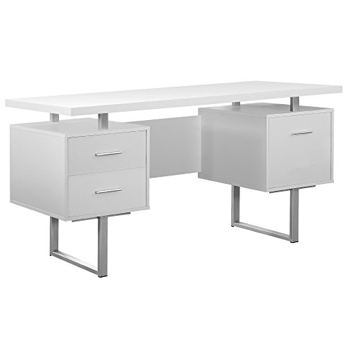 Monarch Specialties White Hollow-Core/Silver Metal Office Desk, 60-Inch (Glass Modern Desk)