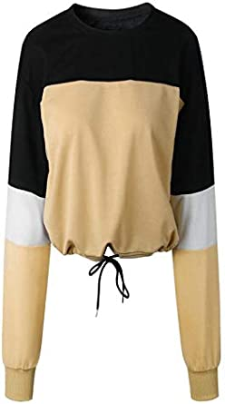 Womens Long Sleeve Casual Tops Drawstring Trim Color Matching Basic Tees Shirts Crop Relaxed Fit Blouses Party Tops