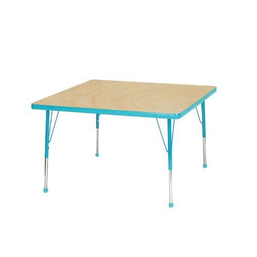 """Creative Colors M36SQTL-SB Activity Table, Standard Height, Ball Glides, 36"""" Square, Maple Top, Teal Edge from Creative Colors"""