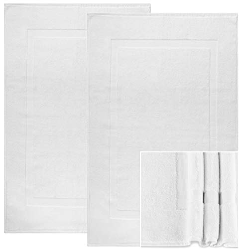 Alurri Bath Mat - 2 Pack - Machine Washable Cotton BathMats - Quick Dry Shower / Bathtub Step Out Bath Rug - Soft, Plush & Super Absorbent - Hotel, Spa Bathroom Floor Towel Mat 20''x30'' (2, White) by Alurri