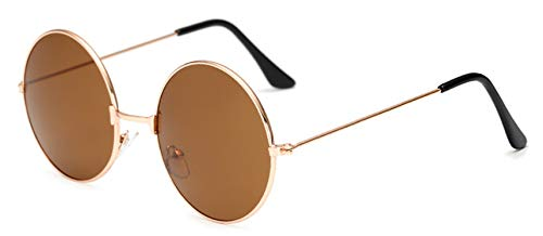 Vintage Round Gold Sunglasses female male black Mirror Eyewear SunGlasses UV400,Gold ()