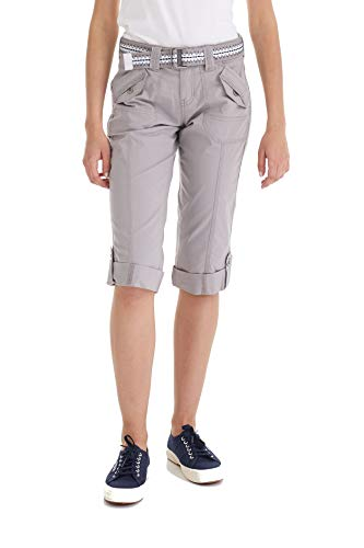 Cargo Jeans Womens - Suko Women's Cargo Capri Pants Adjustable Length Stretchy 17050 Light Grey 18