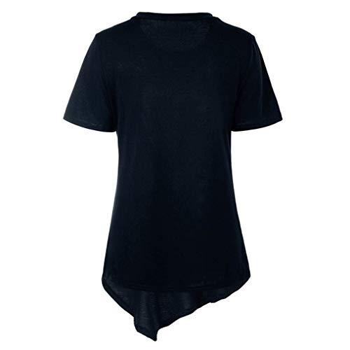 Camicetta Shirt Monocromo Basic Long Relaxed Casual Costume Marine Bluse Tunica Huixin Manica Collo Corta Asimmetrica Eleganti Estivi Rotondo Donna Magliette Lunga 5Pnqwvg