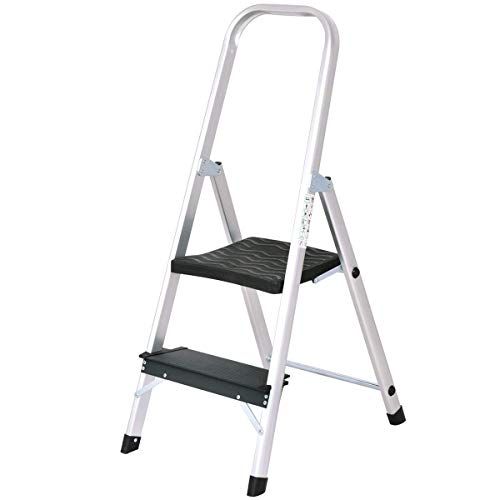 Heavy Duty Footstool - Giantex Aluminum 2 Step Ladder Folding Stepladder with Non-Slip Pedal 330lbs Capacity Work Platform Portable Step Stool