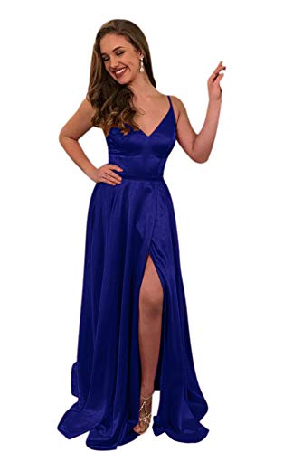- ElenaDressy Women's Simple Spaghetti Straps A Line Long Prom Dresses with Slit,Royal 6
