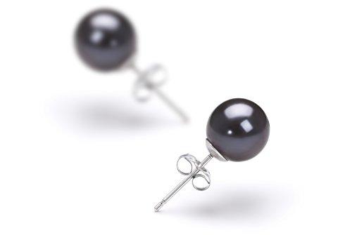 Noir 6-7mm AAAA-qualité perles d'eau douce 925/1000 Argent-Boucles d'oreilles en perles