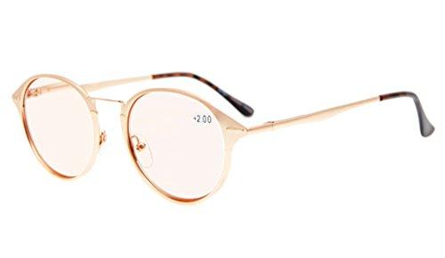 Eyekepper Spring Hinges Retro Round Tinted Lens Computer Reading Glasses Gold - Round Reading Glasses Lens