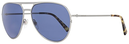Mont Blanc Sunglasses MB546S 14V Shiny Ruthenium Grey Blue