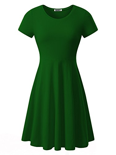 - HUHOT Women Short Sleeve Round Neck Summer Casual Flared Midi Dress (Medium, Green)