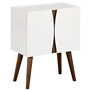 Amazon Brand – Rivet Modern Lacquer and Wood Cabinet, 23.6″L, Glossy White and Wood