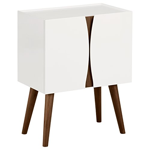 "Rivet Modern Lacquer and Wood Cabinet, 23.6""L, Glossy White and Wood"