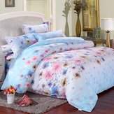 pcs Flower Paint Printing Bedding Set Pillowcase Quilt Duvet Cover Twin Size - Primed Gear Hardened Determined Unmoving Nonmoving Hardening Rigid Readiness Hard (Garden Quilt Cover)