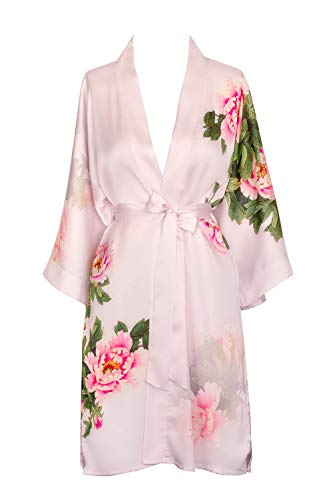 KIM+ONO Women's Kimono Robe Short - Watercolor Floral, Peony & Bird - Pink