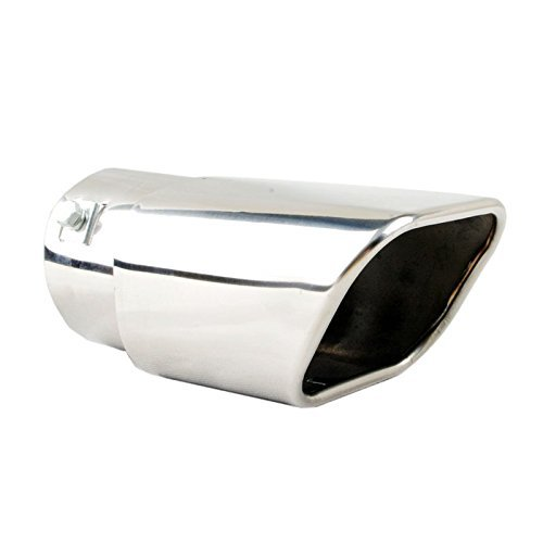 Tritrust Car Muffler Tip - Stainless Steel to give Chrome Effect - To Fit 2 to 2.5 inch Exhaust Pipe Diameter - Installation Clamps Included (Universal Fit Exhaust Tip)