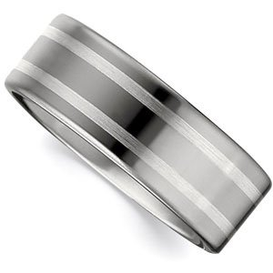 12 Size Sterling Silver Flat Band With Ster Inlay