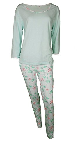 Ladies PJ pijama Set 3/4 Sleeve Top Verde & Largo Lovely Impreso Pijamas de parte inferior (A558)