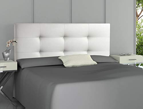 ONEK-DECCO Cabecero tapizado en Polipiel de Dormitorio Tennessee Medidas cabecero de Cama nino, Juvenil y Matrimonio Cabezal Blanco, tapizado, Acolchado (135x70, Blanco)