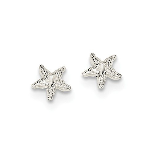 Mia Diamonds 925 Sterling Silver Starfish Mini Earrings with Diamond-Cut Center (8mm x (White Gold Starfish Earrings)