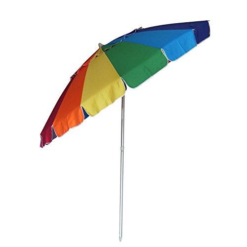 8' American Blue Green Pool (New 8' Multi Color Rainbow Beach Patio Umbrella Shade Sand Anchor Tip Carry Bag Aluminum pole)