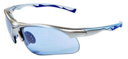 Sunglasses JM12 Sports Wrap for Baseball, Softball, Cycling,Golf TR90 Frame Mirror Lens (Silver & Clear Ice Blue)