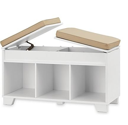 Home Furniture - Storage and Organization - Premium® 3-Cube Split-Top Bench Storage Unit - Color White by Premium